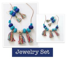 Polymer Clay Jewelry Set, Necklace and Earrings, Beaded Jewelry Set, Colorful Handmade Jewelry Set,Necklace and Earrings