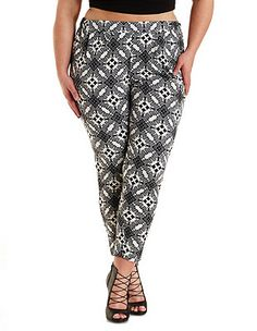 Plus Size Tile Print Trousers: Charlotte Russe
