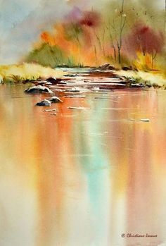 Watercolor by Christiane Javaux – painting ideas Aquarell durch Christiane Javaux – Malerei Ideen Watercolor by Christiane Javaux, - Watercolor Landscape Paintings, Watercolor Artwork, Abstract Landscape, Watercolor Flowers, Abstract Oil, Water Color Painting Landscape, Watercolor Water, Landscape Artwork, Watercolor Artists