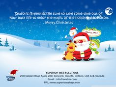 #Merry #Christmas to all From  Superior Web Solutions Call at 905-532-9642 Visit us : www.superiorwebsys.com Write to us at info@swslive.com Visit : 290 Caldari Road Suite 200, Concord, Toronto, Ontario, L4K 4J4, Canada