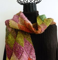 Multicolored Entrelac Knitted Stole or Scarf. $100.00, via Etsy.