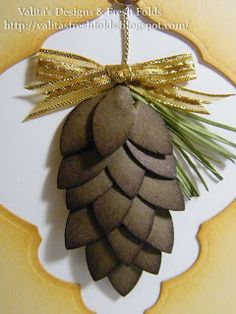 Valita's Designs & Fresh Folds: Christmas punch pine cones- made with blossom punch Christmas Punch, Noel Christmas, Christmas Paper, Christmas Crafts, Primitive Christmas, Country Christmas, Fall Crafts, Paper Punch Art, Punch Art Cards