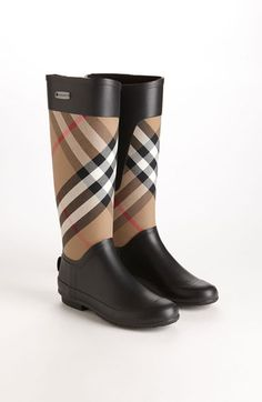 Classic check Burberry rain boots for fall.
