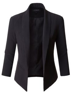 5cfc0194d0e28 LE3NO Womens Fully Lined 3 4 Sleeve Open Front Tuxedo Blazer Jacket with  Pocket Size