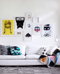 white frames, colourful prints