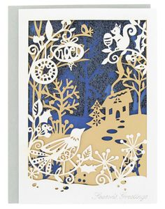 ice queen bird scene christmas card at Paperchase Christmas Design, Christmas Art, Up Book, Book Art, Crea Design, Paper Art, Paper Crafts, Paper Cut Design, Paperchase