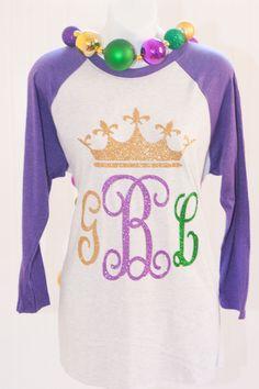 Mardi Gras Glitter Vinyl Monogram Shirt  Hate the spacing of the letters tho