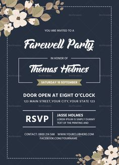 Farewell Party Invitation Card Template