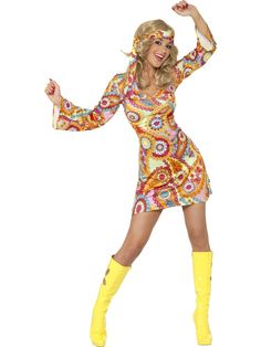 Celebrate flower power with this sexy multi-coloured dress for that perfect themed party at only (discount available for multiple purchases) (Diy Costume Hippie) Costume Disco, 70s Costume, Costume Dress, Costumes Sexy Halloween, 1960s Costumes, Vampire Costumes, Hippie Mode, Hippie Style, 70s Hippie