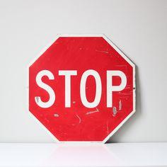 Industrial stop road sign.