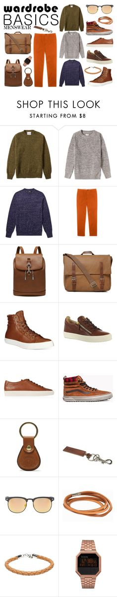 """""""Wardrobe Basics - Menswear"""" by ana-silva-386 ❤ liked on Polyvore featuring Jamieson's of Shetland, Gant Rugger, A.P.C., Club Monaco, Mulberry, Ally Capellino, Polo Ralph Lauren, Giuseppe Zanotti, Common Projects and Vans"""
