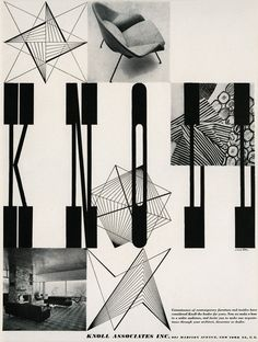 Advertisement for Knoll Associates, Inc. Herbert Matter, ca. 1948. Featuring Stig Lindberg's Apples, Astrid Sampe's Sampe Stripe, and Noemi Raymond's Chinese Coins.