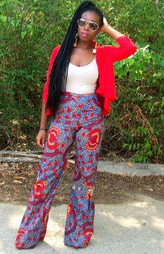 Ankara pants #Ankara, #NigerianFashion, #AfricanFabric You gotta be fresh from head to wide leg pants! Africa is fashion!