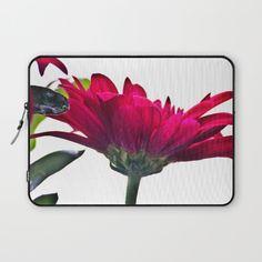 Red Chrysanthemum Flowers Laptop Sleeve by vickifield