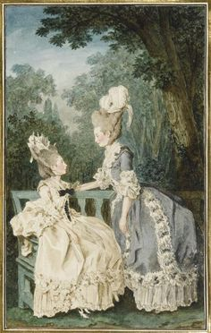 These two ladies are French, not English, but I still love the way their hats are pinned to the very top of their elaborate hair styles - much as Diana liked to wear her hair & hats. Mesdames les comtesses de Fitz-James et du Nolestin, 1771, by Louis Carrogis Carmontelle.