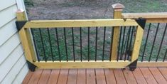 I've never been a fan of swinging deck gates; they take up too much room and they always wind up sagging no matter how well they are built and supported. So since we extended our deck last summer… Pergola Designs, Deck Design, Gate Design, Backyard Designs, Backyard Ideas, Design Design, Porch Gate, Sliding Gate, Junk Art