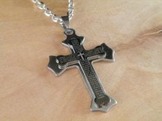 New Gift Unisex's Men Stainless Steel Cross Pendant Black Silver Bible Necklace.