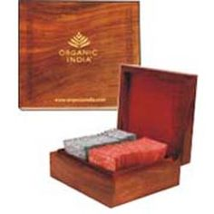 Executive Deluxe Wooden Gift Box -- This elegant engraved box of sheesham wood is lined with rich red velvet cloth and holds 50 teabags. Comes with 25 tea bags of any 2 variants of ORGANIC INDIA Tulsi Tea - The Original Tulsi, Tulsi Ginger Tulsi Green Tea, or Tulsi Chai Masala. Makes a very impressive gift and will last a lifetime!