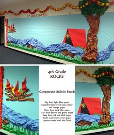 Digital Scrapbook Layouts by Nicole LeBlanc: Campground Bulletin Board School Decorations, School Themes, Classroom Themes, Hall Decorations, Classroom Walls, Classroom Design, Classroom Organization, School Ideas, Camping Bulletin Boards