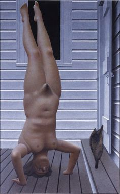 alex colville - headstand acrylic polymer emulsion on masonite (art gallery of nova scotia) Canadian Painters, Canadian Artists, New Artists, Royal Canadian Navy, Canadian Army, Order Of Canada, Alex Colville, House Painter, Bachelor Of Fine Arts
