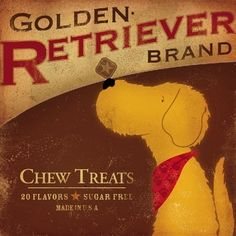 Golden Retriever Brand dog treats original illustration giclee print. via Etsy.