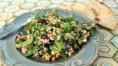 Spinach and Quinoa Salad w/ toasted cashews and dried cranberries.
