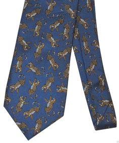 Hilditch & Key London Saks 5th Leopard Silk Necktie Neck Tie #HilditchKey #Necktie