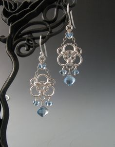 Aura Weave Chainmaille Earrings with Aquamarine and London Blue Topaz.