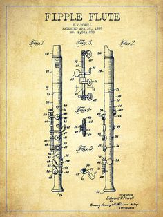 Flute Poster featuring the drawing Fipple Flute Patent Drawing From 1959…