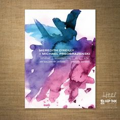 Bold and bright. Modern Purple and Blue Watercolor Wedding Invitation. $125.00, via Etsy.