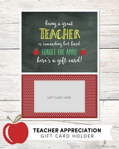 FREE Teacher Appreciation Gift Card Holder - perfect for your favorite teacher and takes just a few minutes to put together.