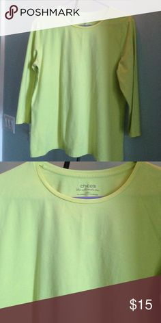 """CHICO'S LONG SLEEVE TEE Details: A luxurious Pima Cotton in a vibrant shade of lemon yellow. Material: 96% Pima Cotton, 4% Spandex Size: 2 = M Measurements:  24.5"""" from top to bottom of hem front; 21.5"""" pit to pit In great condition Chico's Tops Tees - Long Sleeve"""