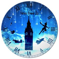 Peter Pan Clock Face by SilhouettesbyMarie on Etsy