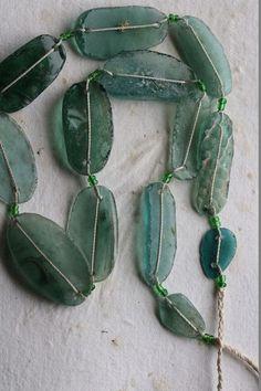 ANCIENT ROMAN GLASS No. 246 .. Genuine Antique Roman Glass Fragment Beads (rg-246) by ArteBellaSurplus on Etsy