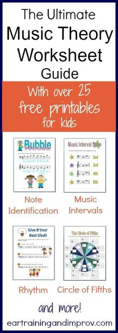 Piano Ear Training Ear training and Improvement over 25 FREE Music Theory Worksheets! These include note identification, rhythm, music intervals, scales, and more! Here are - FREE Music Theory Worksheets ) Music Theory Worksheets, Free Worksheets, Printable Worksheets, Music Lesson Plans, Partition, Piano Teaching, Music For Kids, Fun Music, Amazing Music