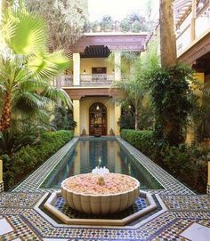 Garden And Lawn , Moroccan Home Gardens : Moroccan Home Gardens With Pool And Boxwood Hedges