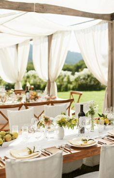 Outdoor Wedding   Harvest Tables and Farmhouse Chairs