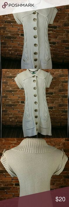 """🚨24 HOUR SALE🚨Cable Knit Sweater Cute heavyweight sleeveless pocket sweater.large buttons down the front and on shoulders. Knit coming loose a little around 2nd buttonhole. 18 """" across chest lying flat, 32 """" long. 36% Cotton/ 36% Rayon/ 15% Linen/ 13% Acrylic INC International Concepts Sweaters"""