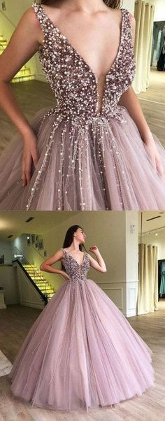 Custom made v neck tulle long prom dress, evening dress, Shop plus-sized prom dresses for curvy figures and plus-size party dresses. Ball gowns for prom in plus sizes and short plus-sized prom dresses for Prom Dresses 2018, Ball Gowns Prom, Cheap Prom Dresses, Formal Evening Dresses, Quinceanera Dresses, Ball Dresses, Dress Prom, Long Dresses, Dress Formal