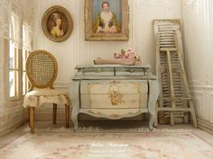 Miniature in wood Shabby French chest commode by AtelierMiniature