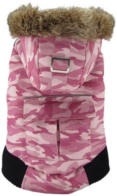 FouFou Dog Canada Fouse Reversible Winter Coat for Dogs, X-Large, Camo Pink/Pink