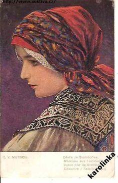 Svatobořice (Muttich, 1915) Czech Recipes, Folk Embroidery, Folk Costume, Beautiful Patterns, Fashion History, European Countries, Black Forest, Vixen, Czech Republic