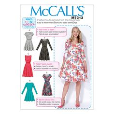 McCalls Ladies Easy Learn to Sew Sewing Pattern 7313 Flared Dresses Beginner Sewing Patterns, Mccalls Sewing Patterns, Sewing Projects For Beginners, Dress Patterns, Sewing Tips, Sewing Ideas, Sewing Hacks, Sewing Crafts, Sewing Tutorials