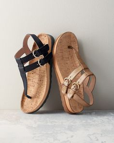 Borns Reta Thong Sandals are destined to become your next travel buddy. With strapping good looks, this elegant yet sporty sandal is a seasonal standout for its flattering T-strap, double-buckle closure, and comfy cork footbed for a little lift. Crafted of Italian leather, featuring Børn's signature hand-sewn construction.