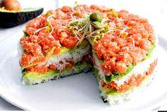 Sushi Cake With Avocado, Cucumber And Salmon 160 Kcal -100g Recipe with rice, rice vinegar, sugar, salt, nori, fresh salmon, avocado oil, cucumber, avocado, sesame seeds