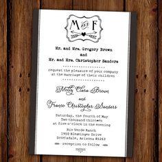 Black and White Rustic Elegance Wedding Invitation - Classic - Vintage Party Invitation