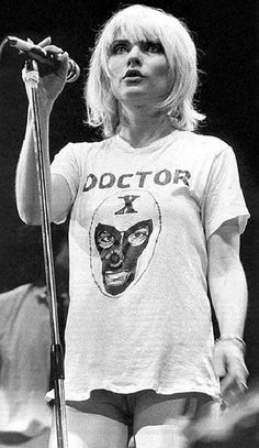 Debbie Harry from the 70'2-80's band Blondie wearing a Dr. X shirt.