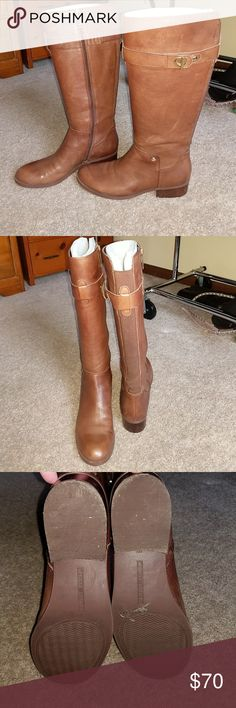 Tommy Hilfiger Knee High Boots Beautiful brown Tommy Hilfiger knee high boots.  Worn maybe three times.  Great condition and boot shapers that came with are still in them! Tommy Hilfiger Shoes