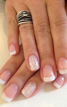 Gel french manicure french manicure with glitter, french manicure gel nails, coloured french manicure Ongles Gel French, Glitter French Manicure, French Manicure Designs, Gel Nail Designs, Nail Manicure, French Manicures, Manicure Ideas, Glitter Nails, French Pedicure