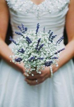 Petite #wedding #bouquet with baby's breath and lavender Benjamin Stuart Photography bridemaid's bouquet